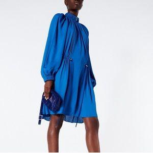 Tibi Blue Short Drawstring Dress Long Sleeve Large